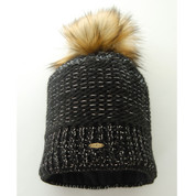 Starling Nicole Beanie Bobble Hat With Silver Flecks Of Thread Black