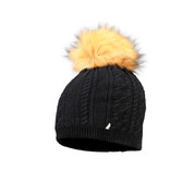 Starling Sandi Beanie Faux Fur Bobble Hat Black