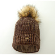 Starling Nicole Beanie Bobble Hat With Silver Flecks Of Thread Brown