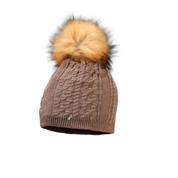 Starling Sandi Beanie Faux Fur Bobble Hat Caramel