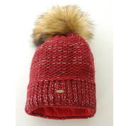 Starling Nicole Beanie Bobble Hat With Silver Flecks Of Thread Deep Red