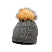 Starling Sandi Beanie Faux Fur Bobble Hat Charcoal