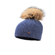 Starling Femi Beanie Faux Fur Bobble Hat Denim Blue