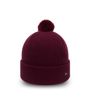 New Era Womens Premium Knit Bobble Beanie Maroon Gold One Size Fits All