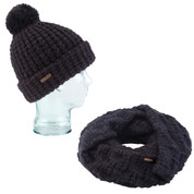 Coal Kate Beanie Waffle Knit And Madison Scarf Eternity Open Knit Heather Black