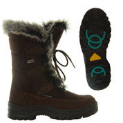 Mammal Womens Winter Ice Grip Mid Calf Boots Oribi OC Dark Brown