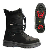 Mammal Womens Winter Ice Grip Mid Calf Boots Suni OC Sole Black
