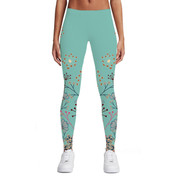 Hyped Sports Womens Casual Sport Leggings Pants Spandex Teal Flowers