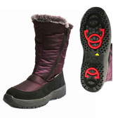 Mammal Womens Winter Ice Grip 2x Zip Mid Calf Boots Seren OC Sole Purple