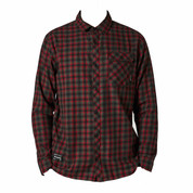Fox Mens Reeves Plaid Long Sleeve Button Down Shirt Black Red