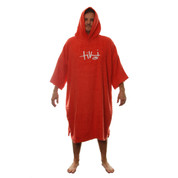 Tiki Adult Mens Womens Hooded Towelling Changing Robe Beach Swim Poncho Red