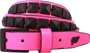 Lowlife Single Stud Studded Belt Pink Black LL519