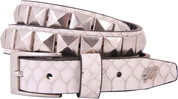Lowlife Single Stud Studded Belt White Snakeskin LL519