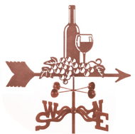 Wine Bottle and Glass Weathervane With Mount