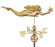 "Mermaid with Starfish Good Directions 11"" Weathervane Polished Copper with Gold Leaf Finish"