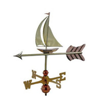 Weathervane - Sailboat Garden Size - Polished Copper
