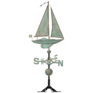 "Whitehall 19"" Copper Sailboat Weathervane - Verdigris"