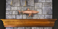 Shark in Pure Copper Mantel Weathervane