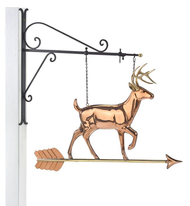 Hanging White Tail Buck Pure Copper Weathervane Sign with Decorative Bracket