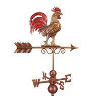 Bantam Red Rooster Weathervane - Pure Copper Hand Finished Multi-Color Patina by Good Directions