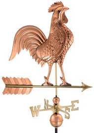 "Rooster Weathervane by Good Directions - 27"" - Polished Copper"