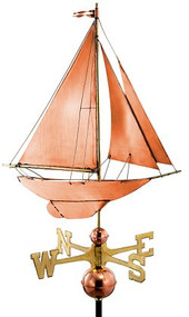 Good Directions Racing Sloop Weathervane - Polished Copper
