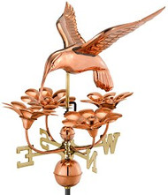 Good Directions Hummingbird with Flowers Weathervane - Polished Copper