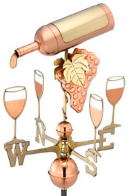 Good Directions Wine Bottle Weathervane - Polished Copper