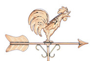 Rooster Weathervane - Polished - Cottage Size