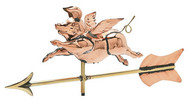 Weathervane - Polished - 3-D Cottage Flying Pig W/ Arrow