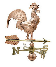 Crowing Rooster Weathervane - Polished - Large Size