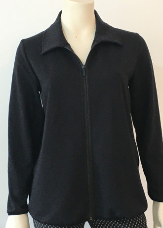 Black Merino Cardy with front zip
