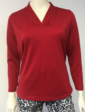 #Merino Shawl Neck Top