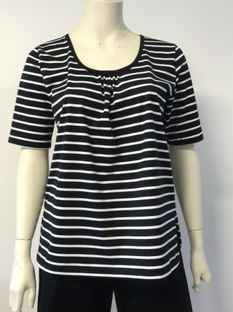 Black & White Striped Gather Neck Tee