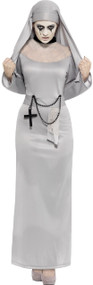 Ladies Grey Horror Nun Fancy Dress Costume