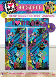 80's Backdrop Party Decoration Set