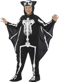 Boys Bat Skeleton With Wings Fancy Dress Costume