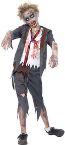 Boys Zombie School Boy Fancy Dress Costume