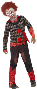 Boys Deluxe Zombie Clown & Mask Fancy Dress Costume