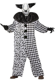 Mens Black/White Horror Clown Fancy Dress Costume
