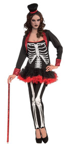 Ladies Sexy Mrs Skeleton Fancy Dress Costume