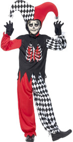 Boys Bloody Curdling Jester Fancy Dress Costume