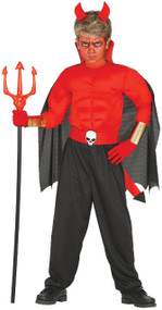 Boys Muscle Chest Devil Fancy Dress Costume