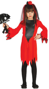 Girls Devil Bride Fancy Dress Costume