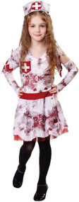 Girls Zombie Nurse Fancy Dress Costume