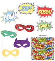 9 Piece Super Hero Party Photo Booth Background & Props