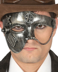 Mens Silver Steampunk Fancy Dress Mask