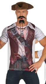 Mens Lithographed Pirate Fancy Dress Costume