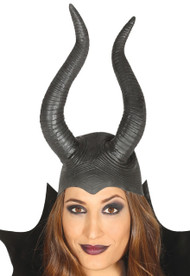 Ladies She Devil Latex Horns Fancy Dress Accessory