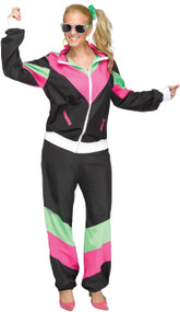 Ladies 1980s Black Shell Suit Fancy Dress Costume